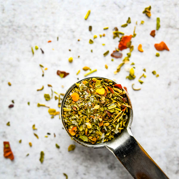 spice blend seasoning on a teaspoon.