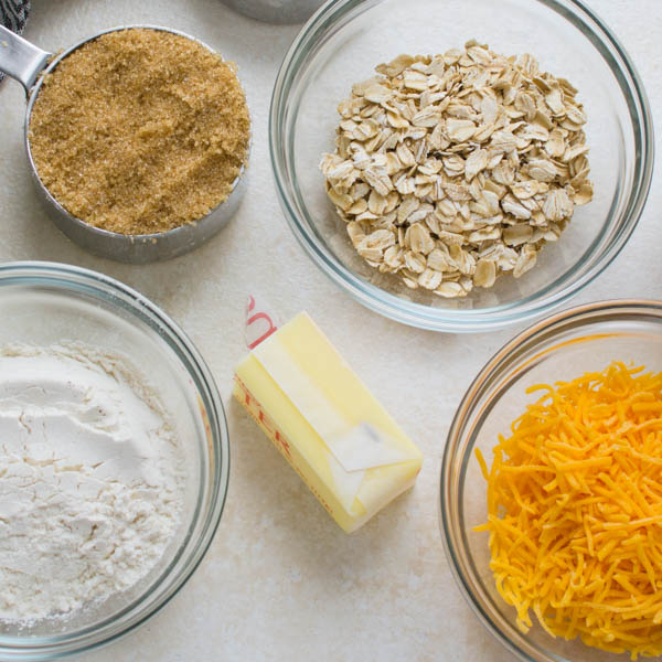 ingredients for easy crumble topping.
