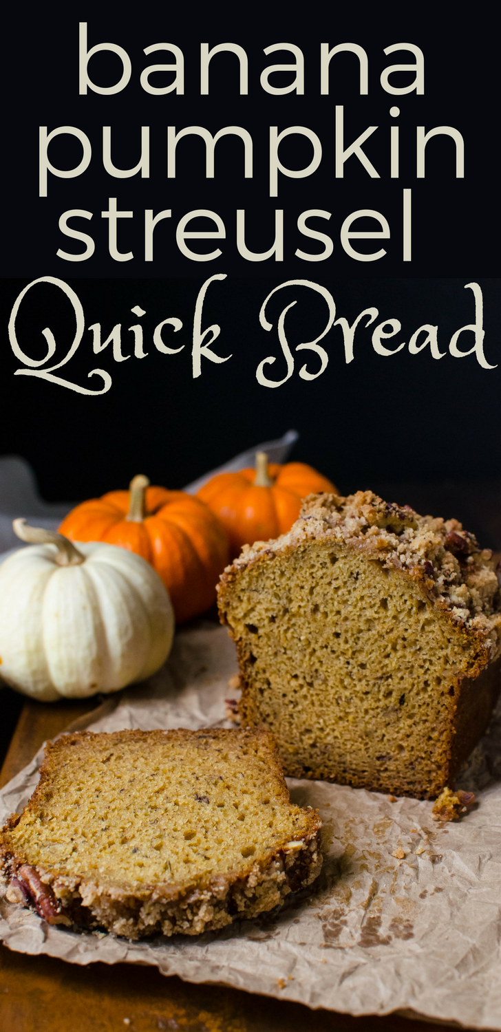 The best pumpkin bread recipe has banana in it! Banana Pumpkin Streusel Quick Bread has spices and crunchy pecan streusel. Makes 4 loaves. Good for gifts. #pumpkinbread #bananabread #quickbread #thanksgiving #christmas #streusel #snacks #holidays #foodgifts #homemadegifts #pecans