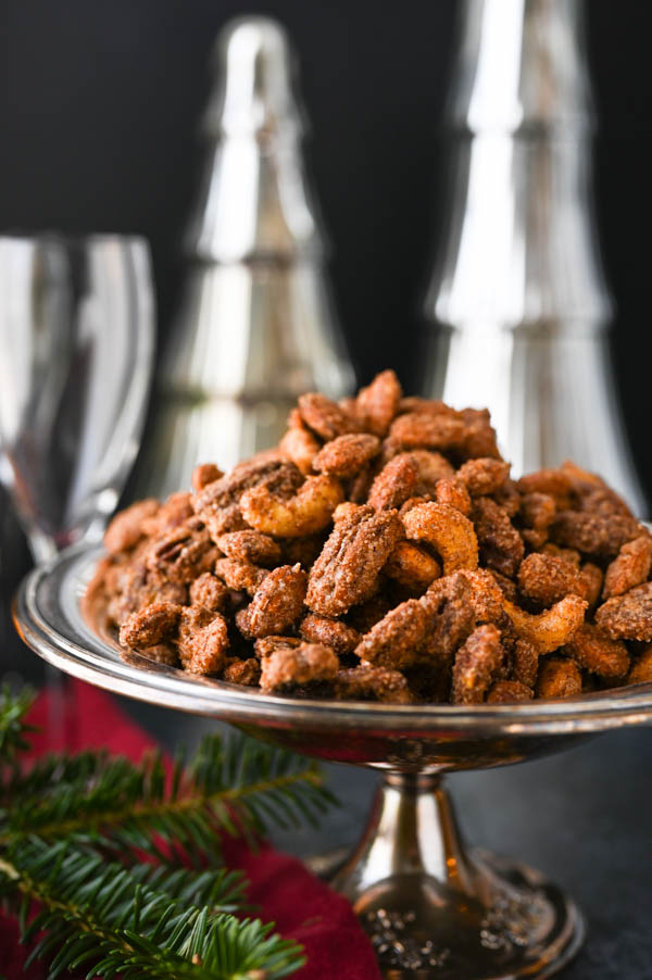 Christmas nuts in a footed bowl.