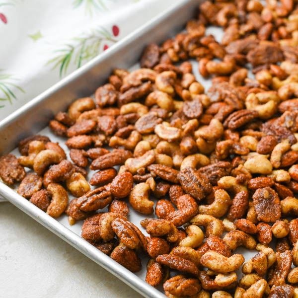 baking Christmas nuts on a sheet pan.
