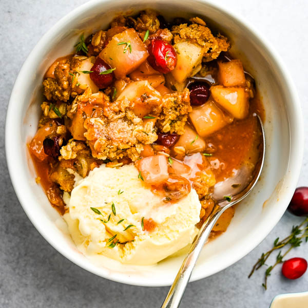 Fresh Cranberry Pear Crisp with Herbs