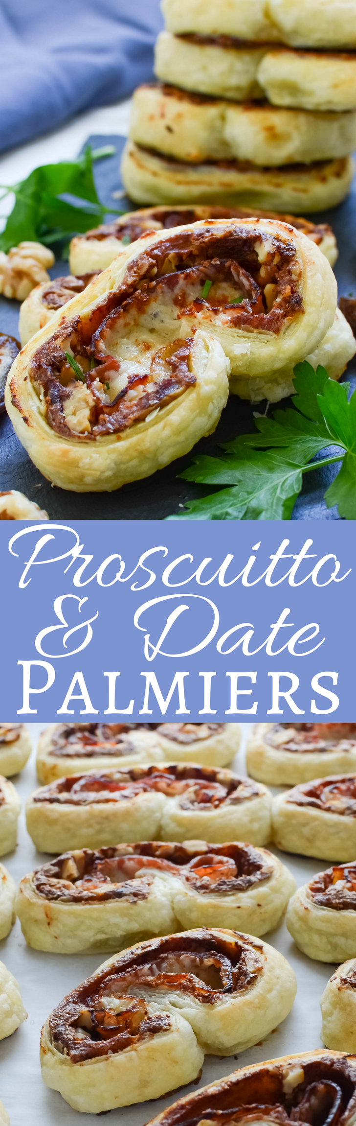 This make ahead appetizer recipe with puff pastry, prosciutto, dates, cheese & crunchy walnuts is deliciously different. Perfect with cocktails!