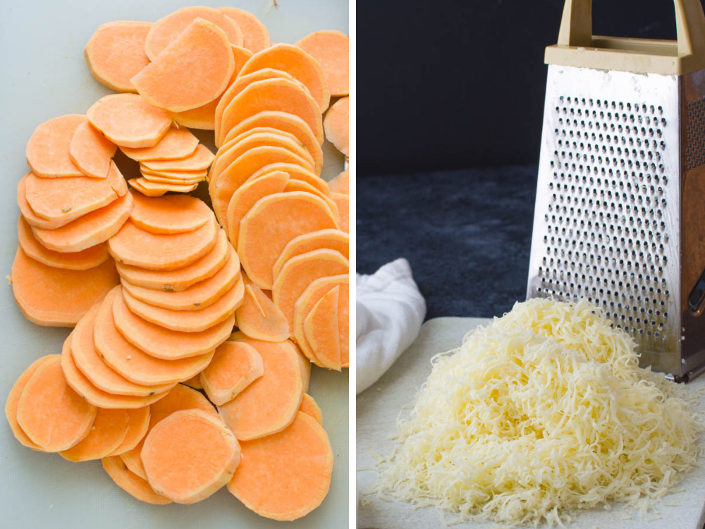 Slicing sweet potatoes and shredding cheese for this sliced sweet potato recipe.