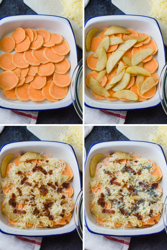 layering savory sweet potato casserole