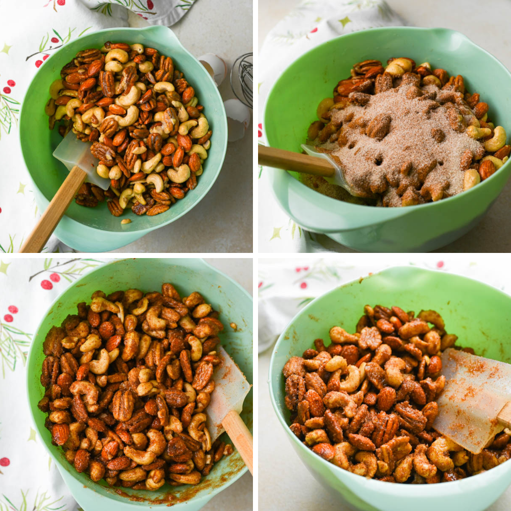 tossing spice mixture onto holiday nuts.