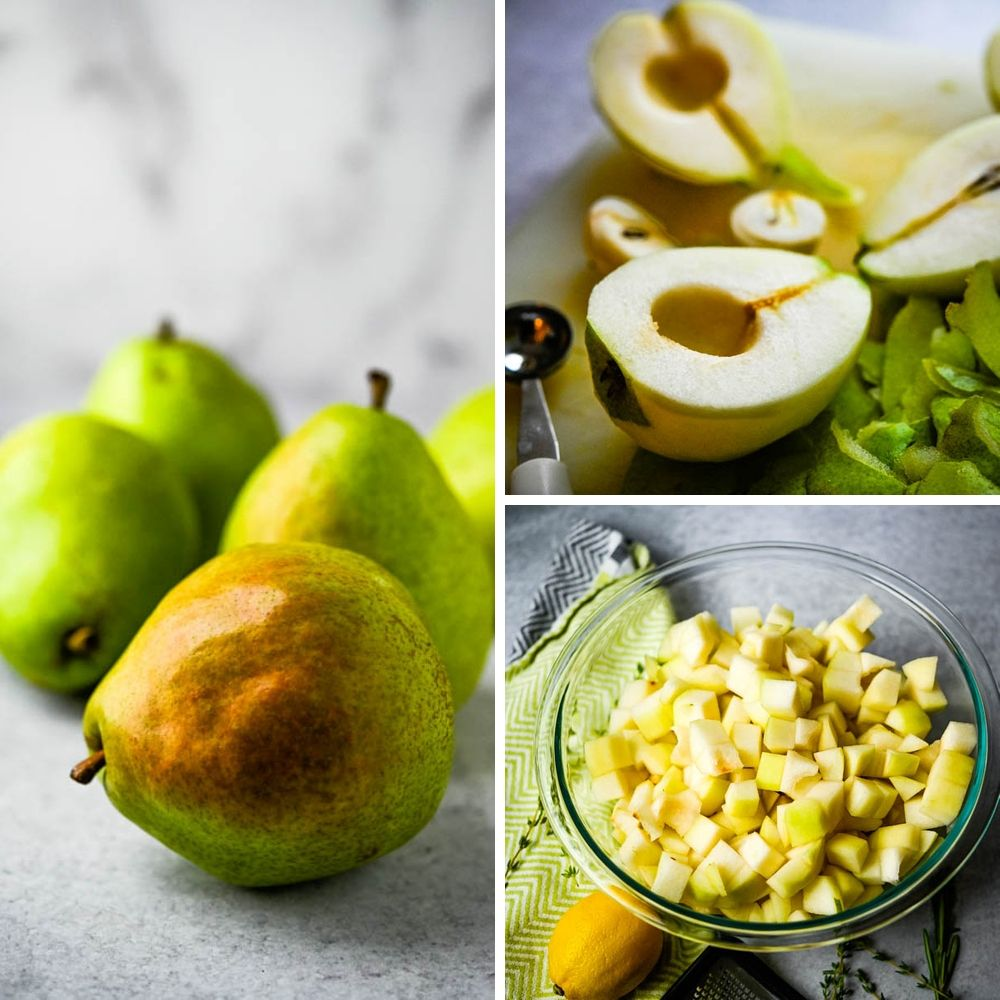 Peeling fruit and removing seeds for baked pear dessert.