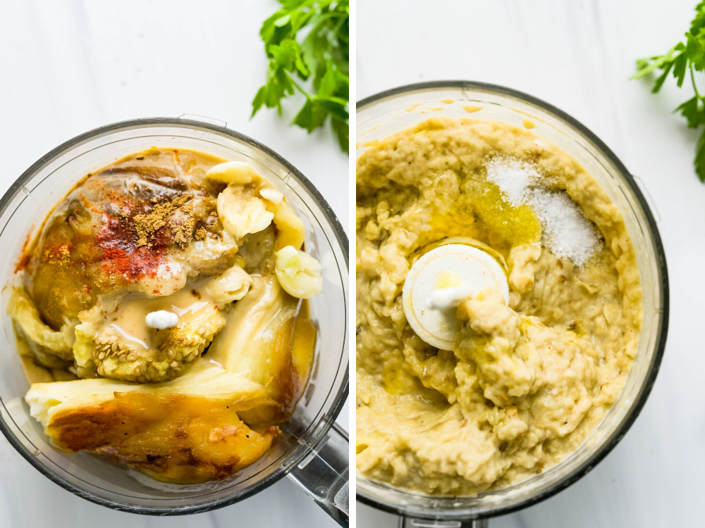 baba ganoush before and after processing.