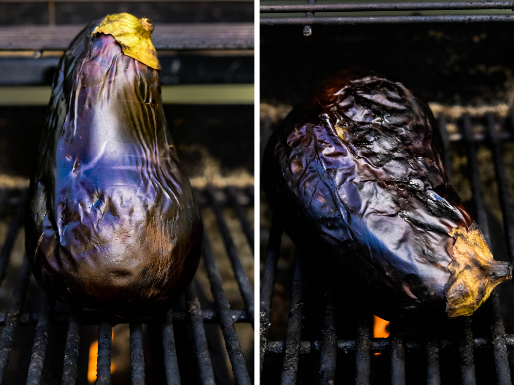 the eggplant starts to wrinkle and slump as it cooks on the grill.