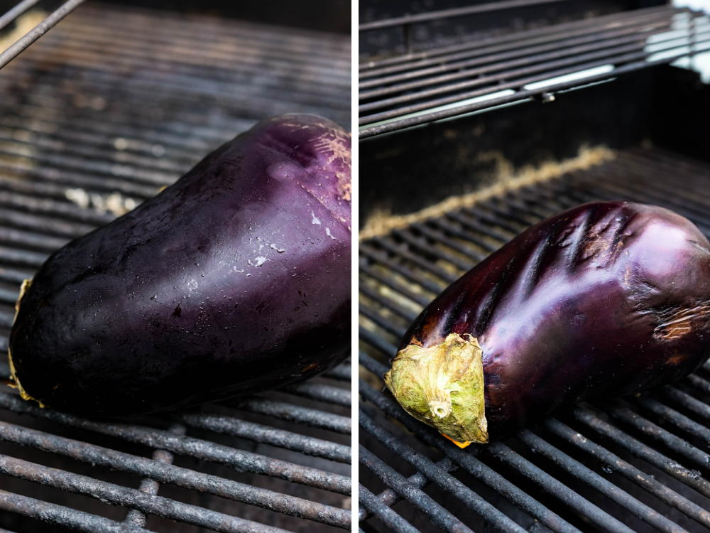 putting the eggplant directly on the grill.