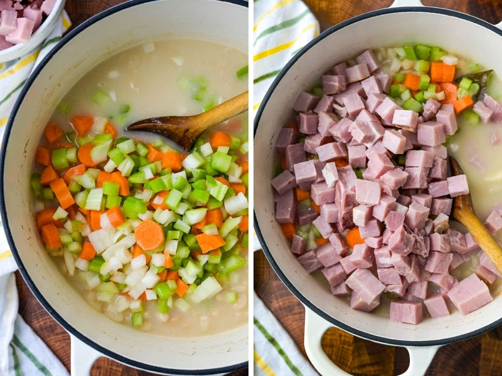 adding vegetables and meat to ham hock and bean recipe.
