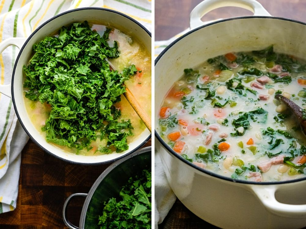 stirring in kale the the creamy ham and bean soup.