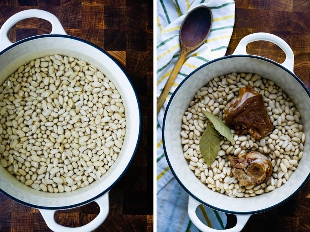 soaking beans and adding ham hocks.