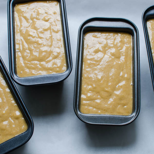 Banana Pumpkin Quick Bread batter in pans