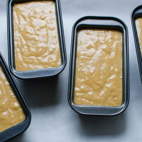 Banana Pumpkin Quick Bread batter in pans