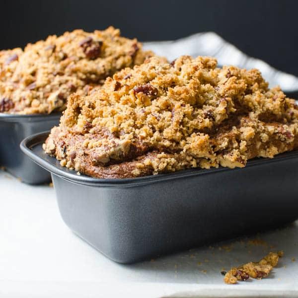 Banana Pumpkin Streusel Quick Bread in loaf pans