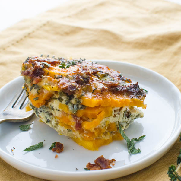 A serving of sliced sweet potato casserole.