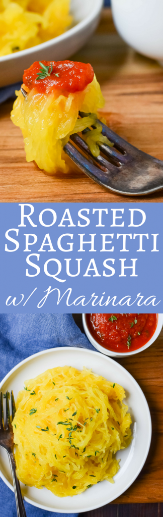 Need a gluten free, low carb spaghetti alternative? This easy recipe for Roasted Spaghetti Squash with Marinara is THE BEST!