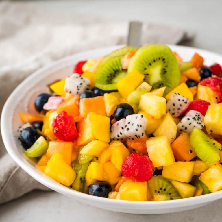 tropical fruit salad with honey lime dressing.