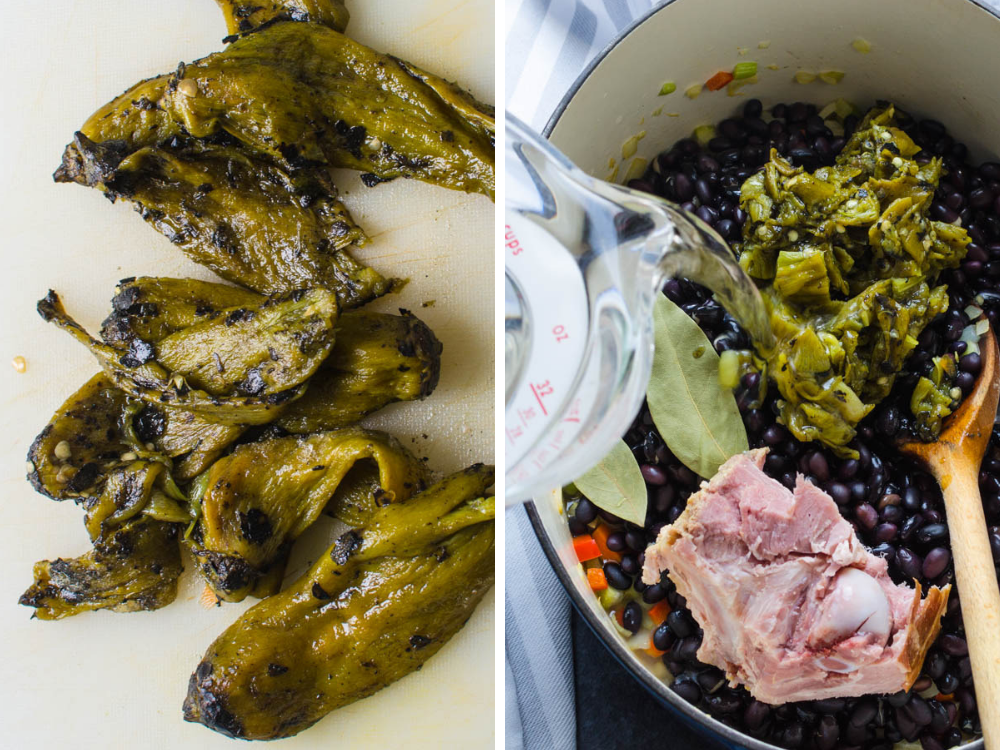 Hatch chiles and ham bone for the best black bean soup.