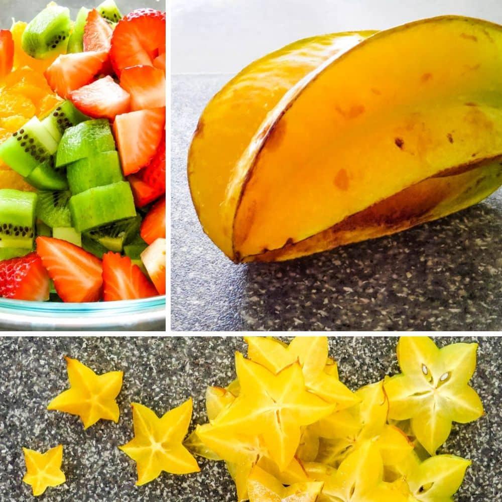 starfruit, kiwi, strawberries and oranges.