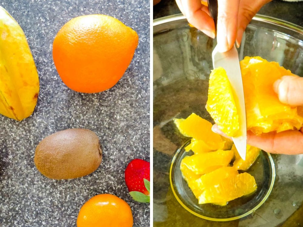 preparing fruit for tropical salad.
