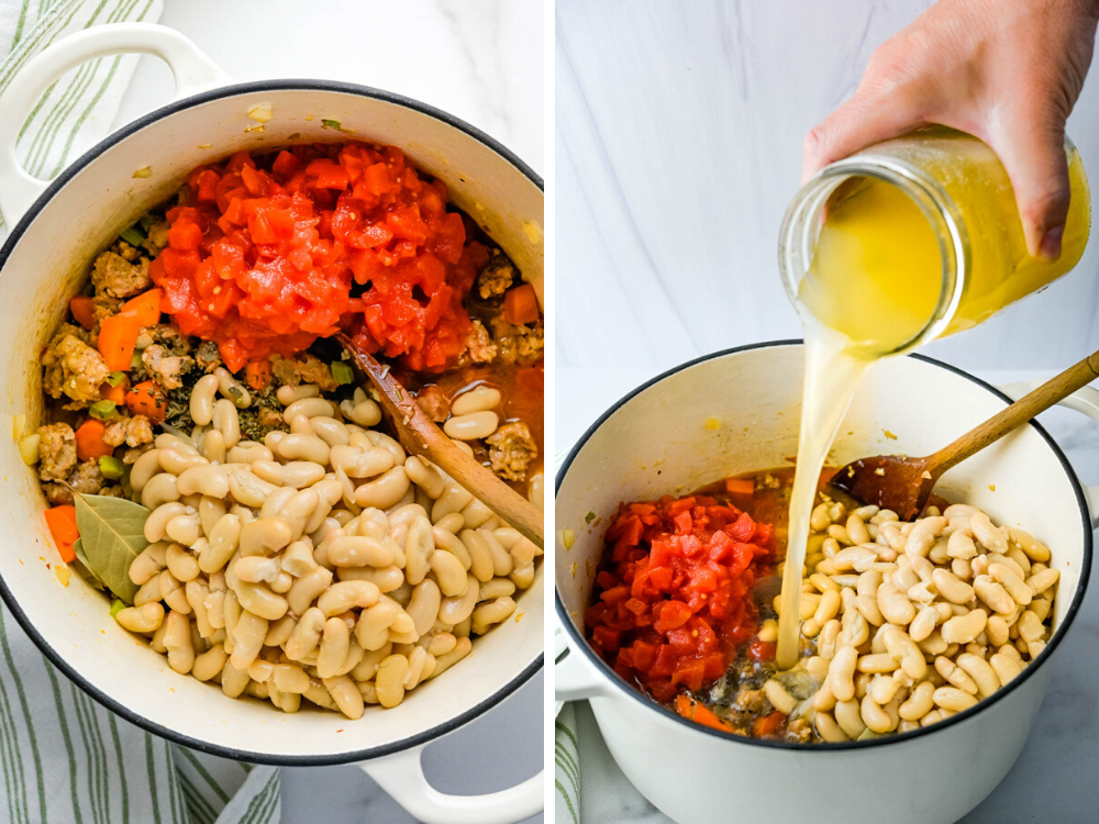 adding tuscan white beans, tomatoes and broth to the pot.