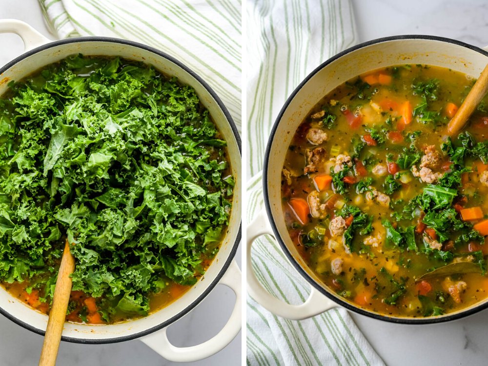The kale will wilt slightly in the steaming pot of spicy sausage soup.