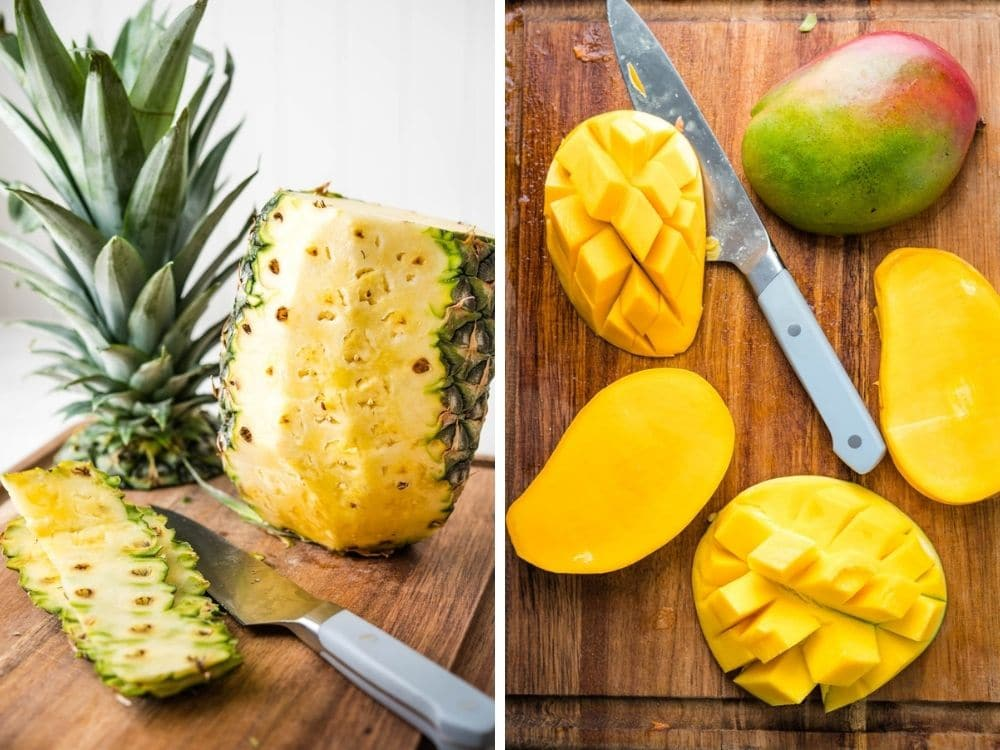 chopping pineapple and mango.