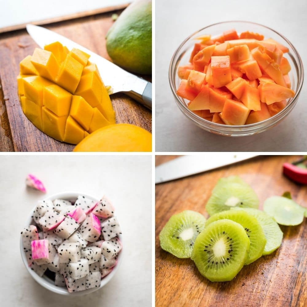 diced tropical fruit for the salad.