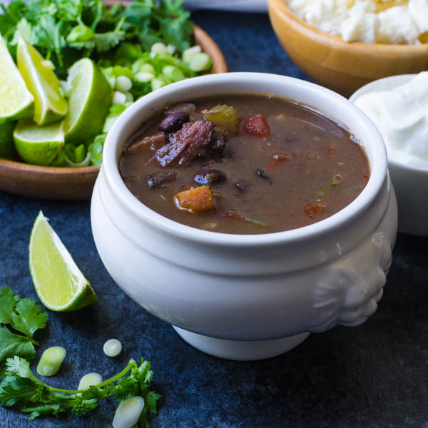 smoky black bean ham soup in a bowl.
