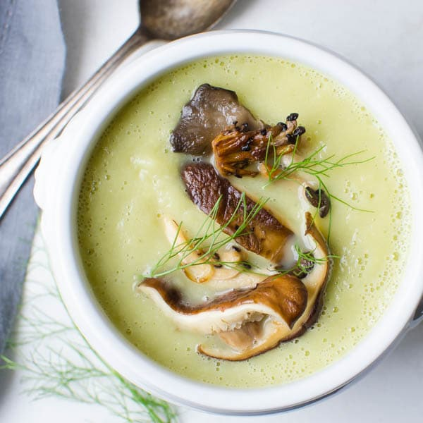 Fennel and Leek Soup with Mushrooms