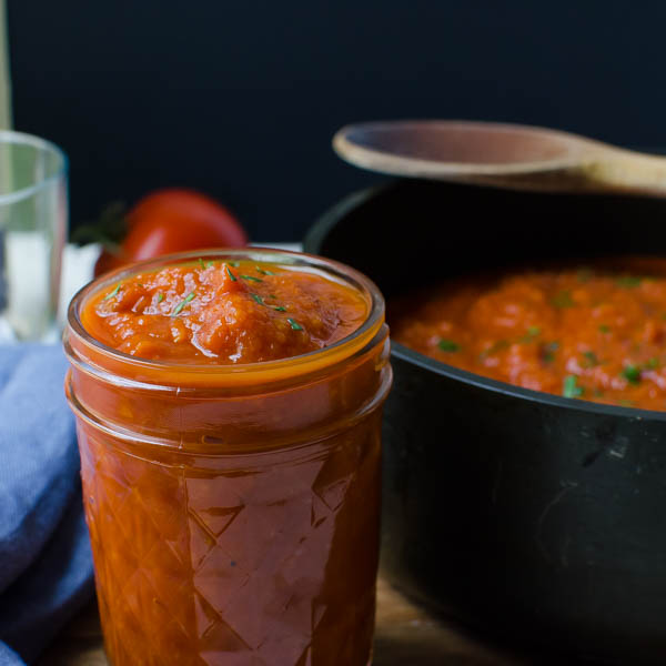 Homemade Marinara Sauce in a jar