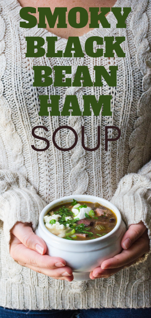 Looking for the best black bean soup? This easy black bean ham soup is it w/cumin, hatch chiles & tomatoes. You'll love ham bone and bean soup. #blackbeans #hambone #hambonesoup #blackbeansoup #hatchchile #hatchchilesoup #cumin #homemadebeansoup #beansoup #hamandbeansoup #blackbeanhamsoup #bestblackbeansoup #hamboneandbeansoup #driedblackbeans #soupfromhambone #leftoverhambone #hambonesouprecipe #jalapeno
