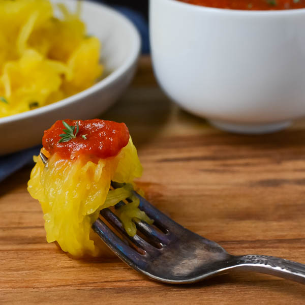 Roasted Spaghetti Squash with Marinara on a fork