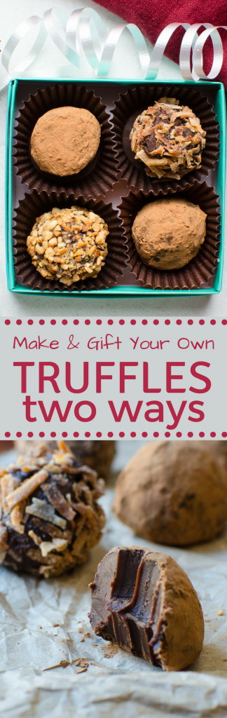 This easy chocolate candy recipe makes a great holiday food gift. Try Truffles Two Ways they're easy enough for beginners and taste rich and decadent! #candy, #chocolatecandy #chocolate #foodgift #holidays #christmas #hannukah #homemadecandy #cassis #curry #coconut #cashews #cocoa #cocoapowder #desserts #gift #homemadegifts