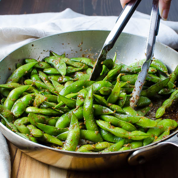 cooked blistered edamame