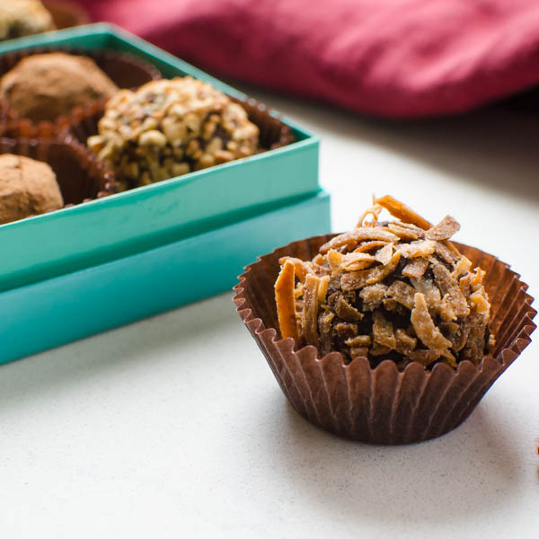 Truffles Two Ways in a paper cup
