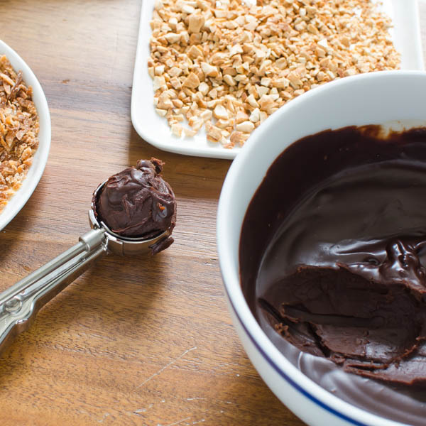 scooping chocolate for rolling