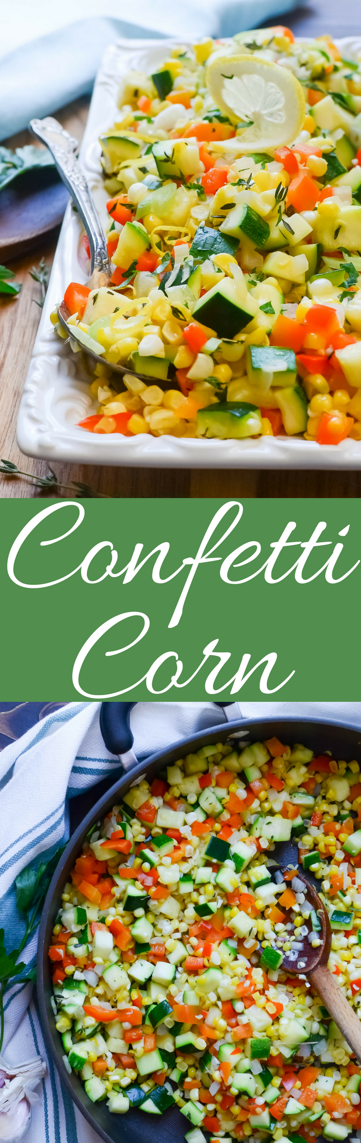 This quick and easy fresh corn recipe with zucchini and bell pepper is a great vegan side dish and is ready in minutes!  The best of summer produce!