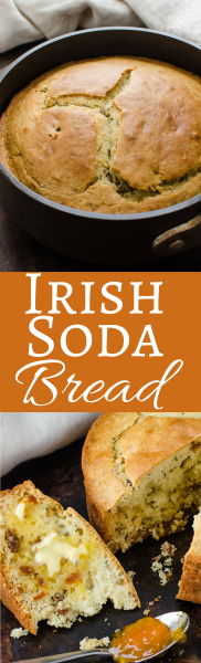 This simple recipe for Irish Soda Bread is slightly sweet with caraway and golden raisins. Great for breakfast or with a soup or stew!