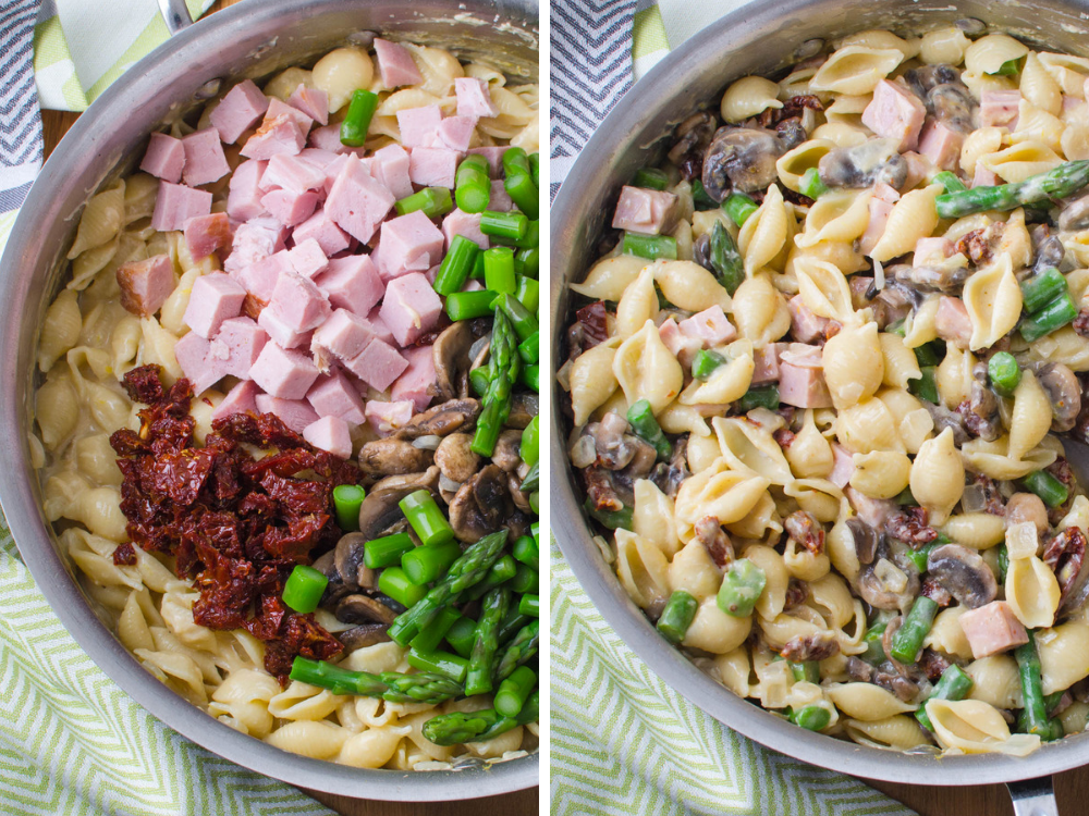 Mixing in ham and asparagus, sun dried tomatoes and mushrooms into the healthy pasta primavera.