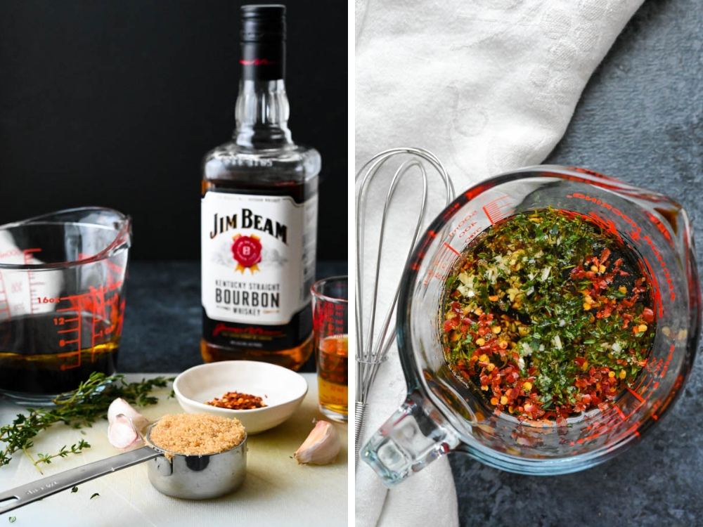 ingredients for bourbon steak marinade mixed in a glass measuring cup.