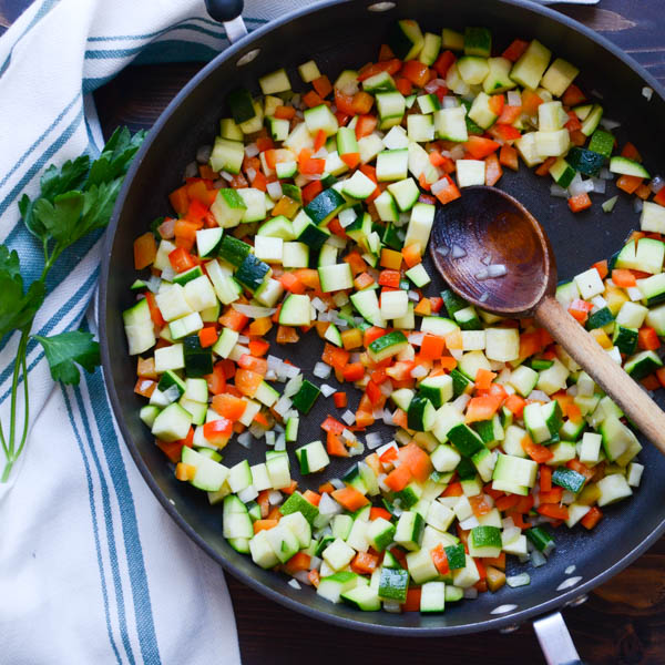 chopped vegetables in a pan.