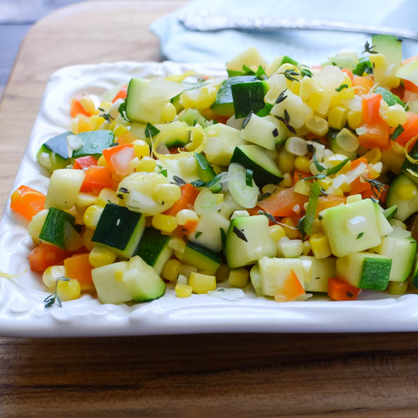 sautéed vegetables on a platter.