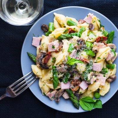 Vegetable Primavera with Ham and Creamy Lemon Sauce