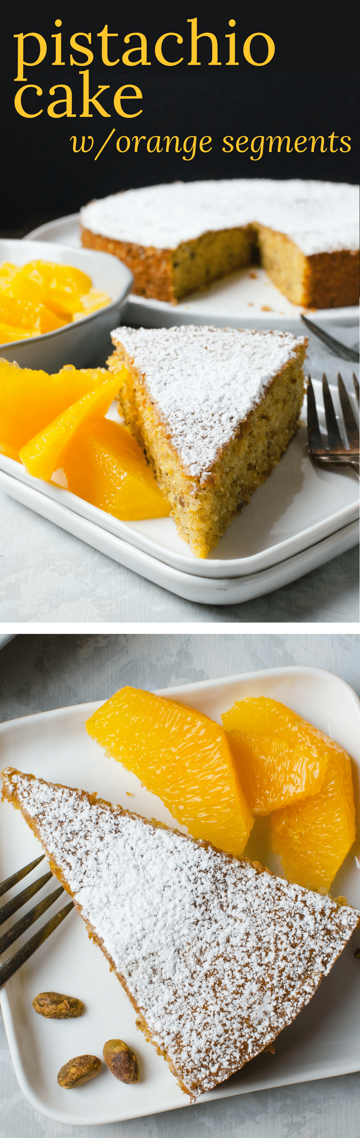 This easy single layer cake recipe is fragrant with a nutty crumb. Serve Pistachio Cake with Orange Segments to highlight the citrus in the cake. A perfect dessert for company. #pistachiocake #pistachiocakerecipe #orangecake #orangesegments #easylayercake #singlelayercake #orange #pistachios #dessertrecipes #dessertforcompany #companydessert #simplecakes