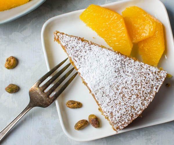 Pistachio Cake with Orange Segments