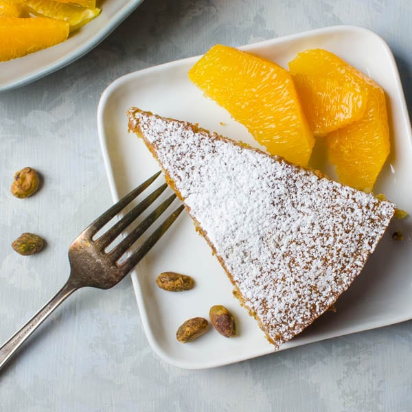 Pistachio Cake with Orange Segments