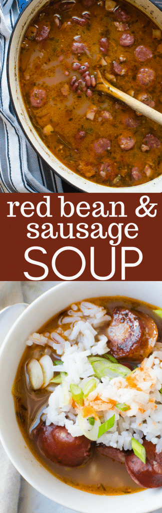 If you like cajun red beans and rice then you'll love this easy Red Bean and Sausage Soup. This Cajun soup has spicy andouille and a special blend of Cajun spices, making this sausage and bean soup extra special. Great comfort food for cold nights! #redbeansoup #sausage #andouille #redbeans #driedbeans #howtomakebeansoup #cajunsoup #cajunredbeansandrice #redbeansandrice #homemadesoup #neworleansfood #lowcountrycooking #lowcountryrecipe #comfortfood